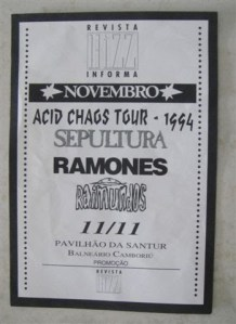 Cartaz e depoimento histórico do show dos Ramones em SC