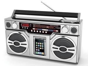 Rádio mistura o velho e estiloso boombox com o atual tocador de mp3