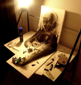 Desenhos a lápis tridimensional artista chileno Fredo
