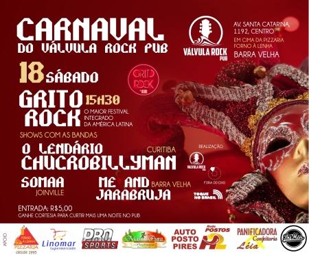 Válvula Rock Pub confirma atrações para grito rock no sábado de carnaval em barra velha